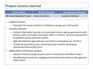 Closing the project 10 ways of embedding lessons learned for Lessons learned template pmbok